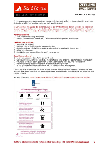 SailForce - Covid-19 instructie - route & tips